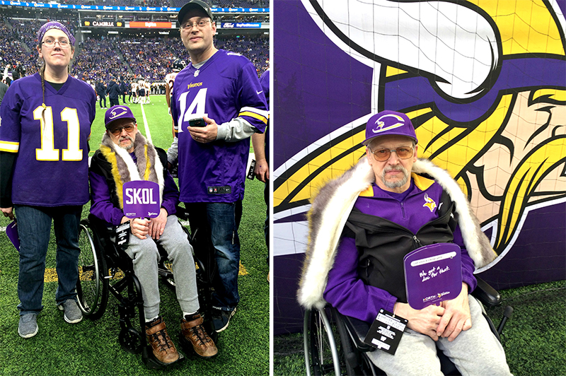 George Schmitt with his niece and nephew at a Vikings home game
